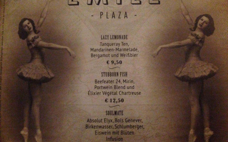 Detail aus der Barkarte des Émile im Hilton Plaza - kekinwien.at
