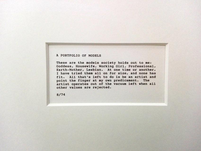 Text aus 'A Portfolio of Models', Martha Wilson, 1974 u 2009, Foto (c) Claudia Busser - kekinwien.at