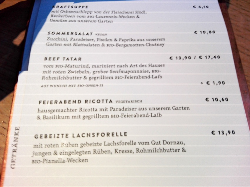 Auszug aus der Speisekarte bei Ströck Feierabend, Foto (c) kekinwien.at