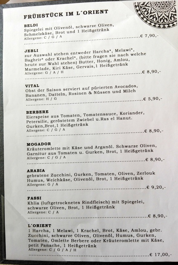 Die Frühstückskarte im L'Orient - kekinwien.at