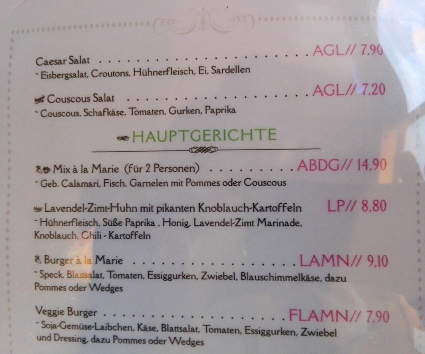 Kleiner Auszug aus der Speisekarte der Brasserie de la Marie - kekinwien.at