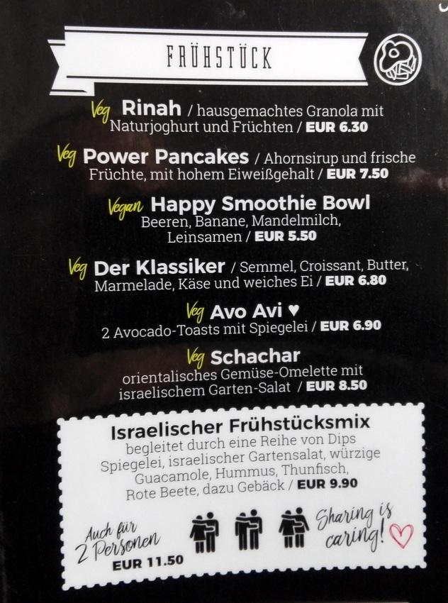 Die Frühstücksvielfalt im Florentin, Auszug aus der Speisekarte - kekinwien.at