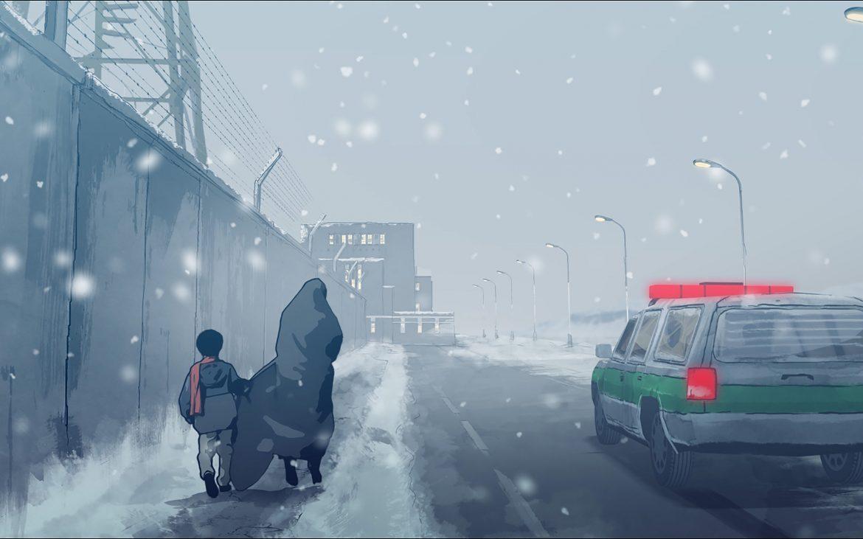 Elias und Pari laufen durch den Schnee (c) Filmladen