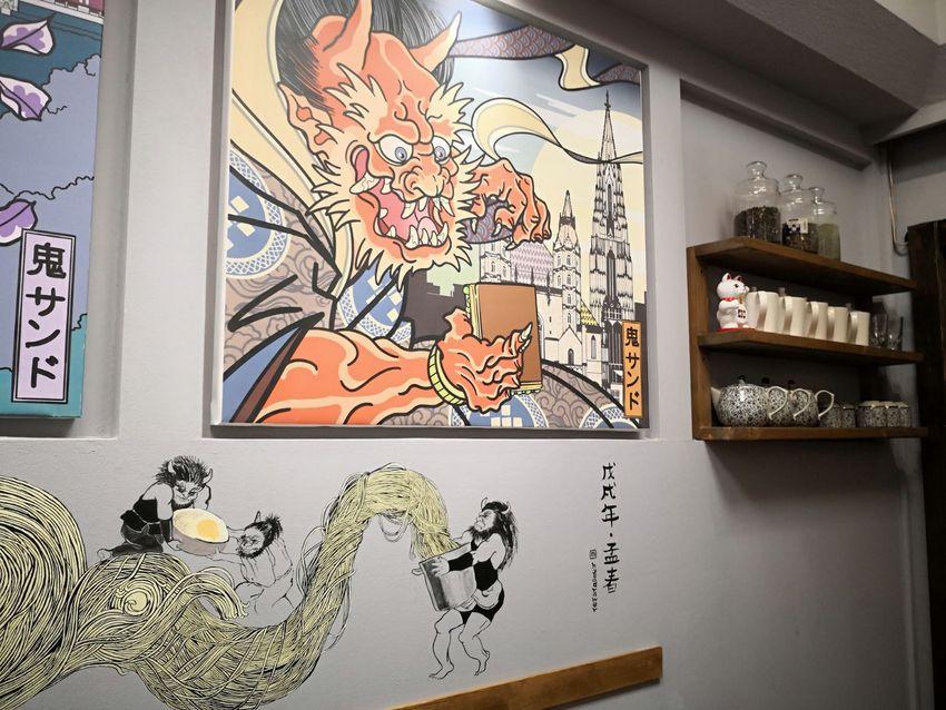 Die Bilder sind noch vom Vorgängerlokal, dem Onisando, die Wandbemalung wurde hinzugefügt und die Einrichtung klug adaptiert, Bild (c) Andrea Pickl - kekinwien.at