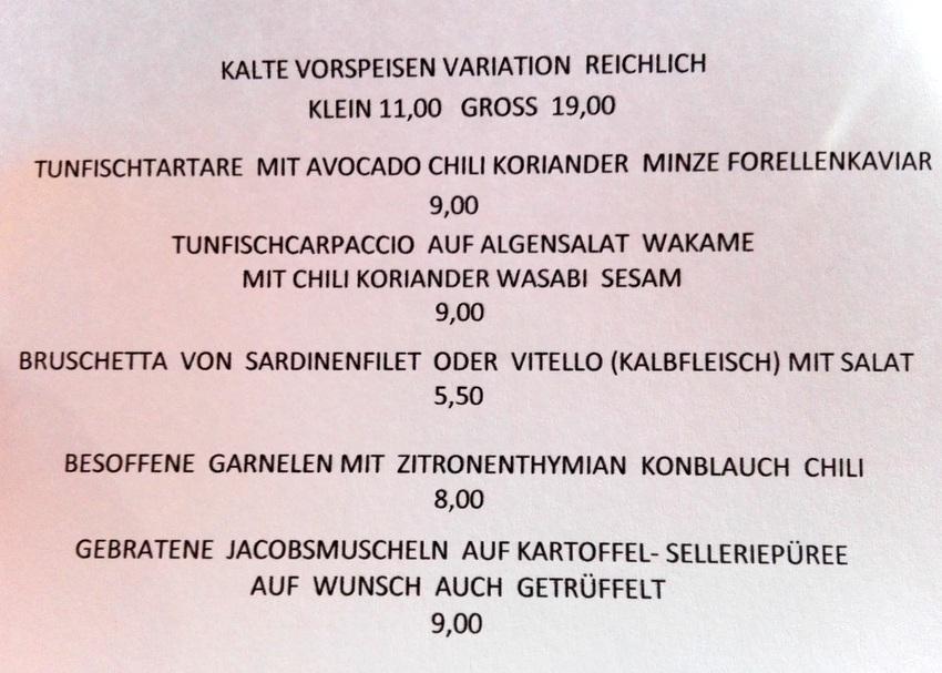 Speisekarte bei Takans Restaurant, Vorspeisen, Bild (c) Claudia Busser - kekinwien.at