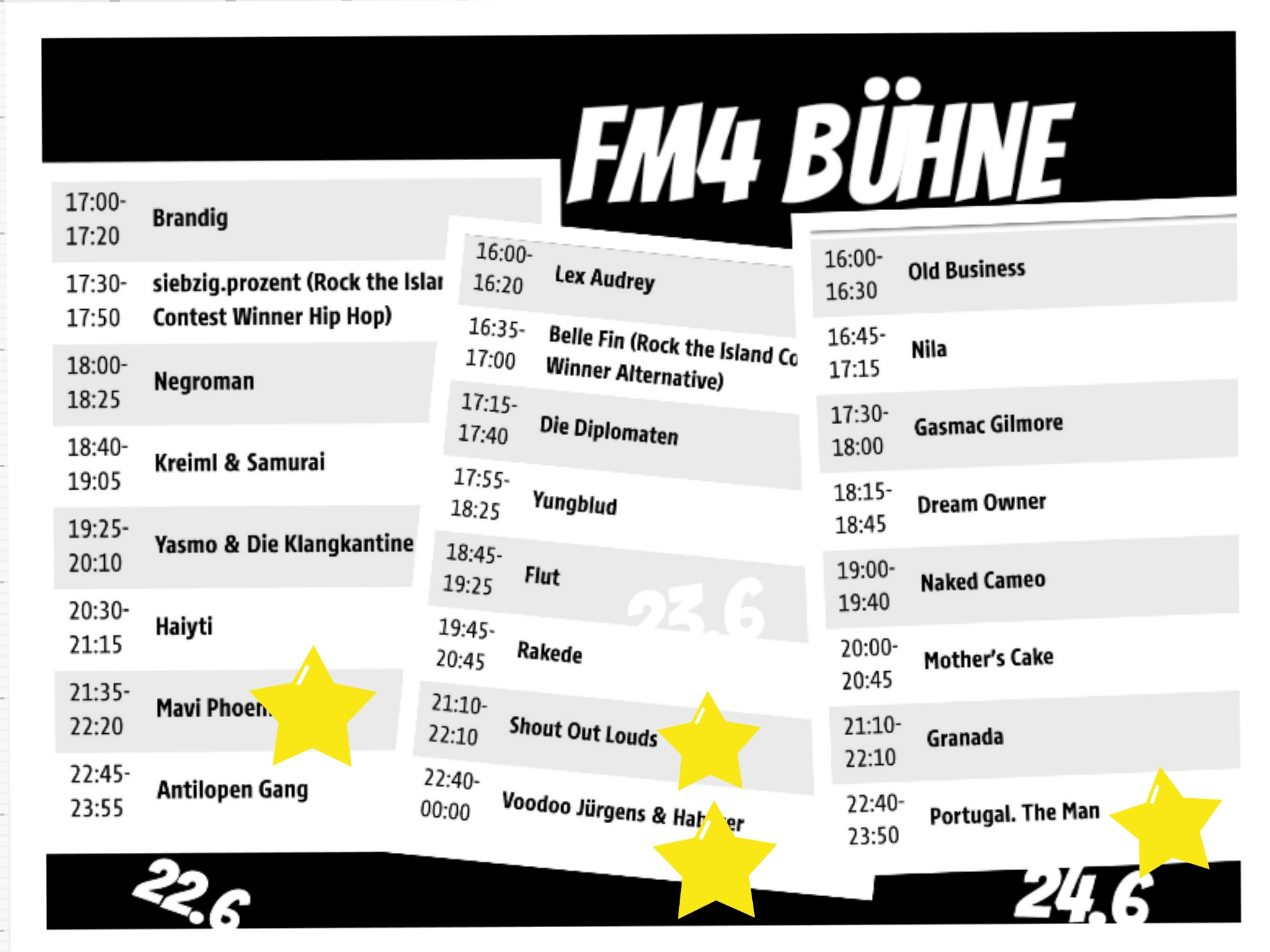 Das Programm der FM 4 Bühne, Donauinselfest 2018, Collage (c) Andrea Pickl