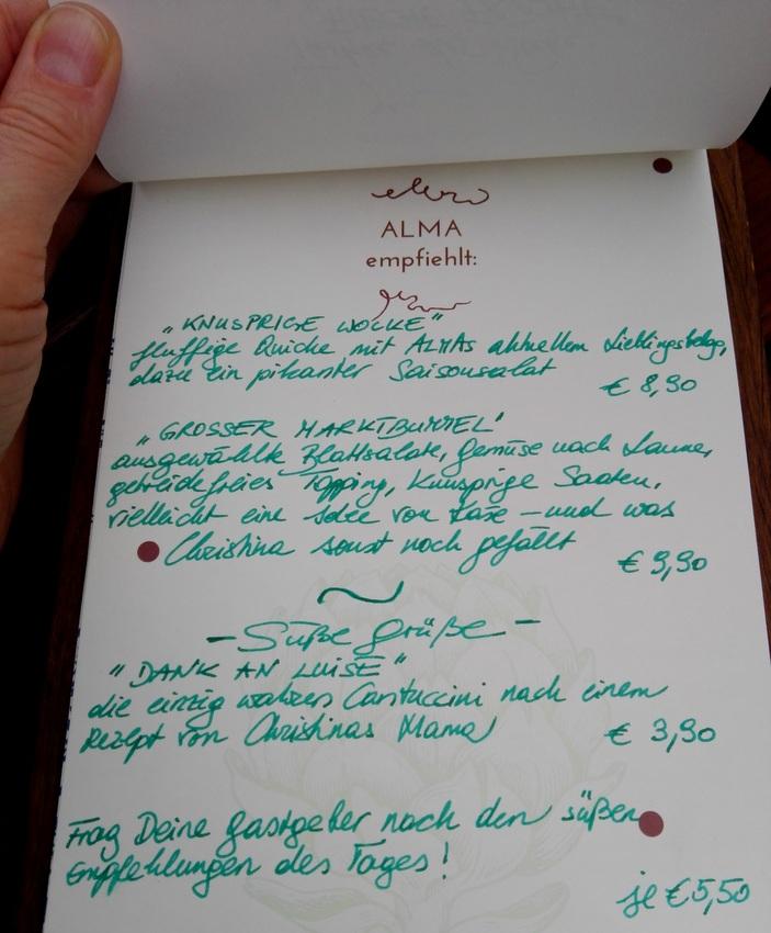 Alma, der von Hand geschriebene Teil der Speisekarte, Bild (c) Claudia Busser - kekinwien.at
