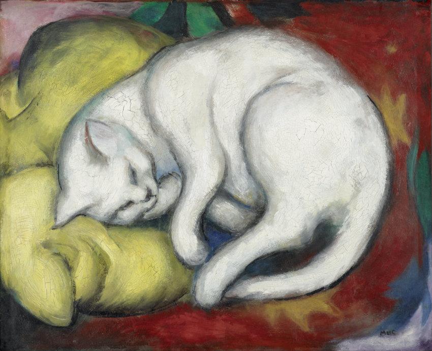 Franz Marc, Die weiße Katze, 1912, Öl auf Karton, 48,8 x 60 cm, Kunstmuseum Moritzburg Halle (Saale), Kulturstiftung Sachsen-Anhalt © Foto: Punctum/Bertram Kober