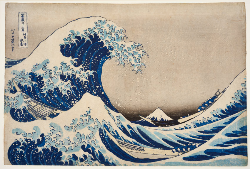 Kasushika Hokusai, 36 Ansichten des Berges Fuji: Unter der Welle bei Kanagawa, um 1830, Farbholzschnitt, 25,3 x 37,5 cm, MAK – Österreichisches Museum für angewandte Kunst/Gegenwartskunst, Wien © MAK/Georg Mayer