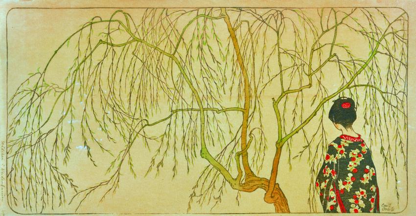 Japonismus, Emil Orlik, Japanisches Mädchen unterm Weidenbaum,1901, Farbholzschnitt auf Japanpapier, 18,5 x 35,9 cm, Sammlung Dr. Eugen Otto, Wien