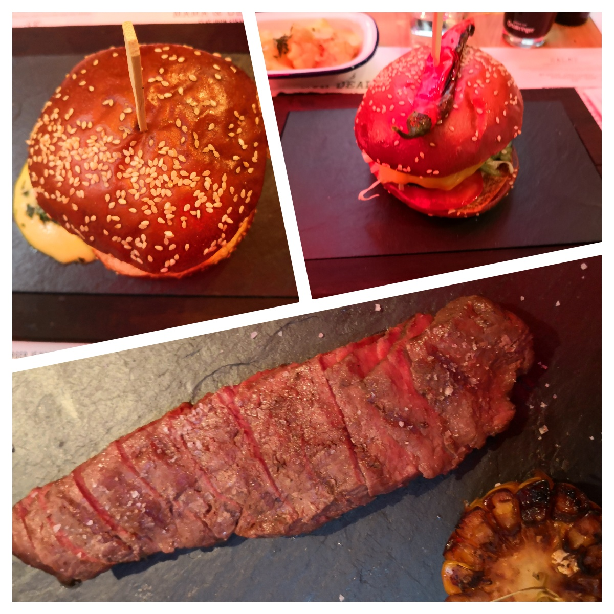 Burger und Flanksteak bei Mama und der Bulle, neu in 1010, Collage (c) Andera Pickl - kekinwien.at