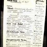 Die Karte im Nice Rice wechselt täglich!