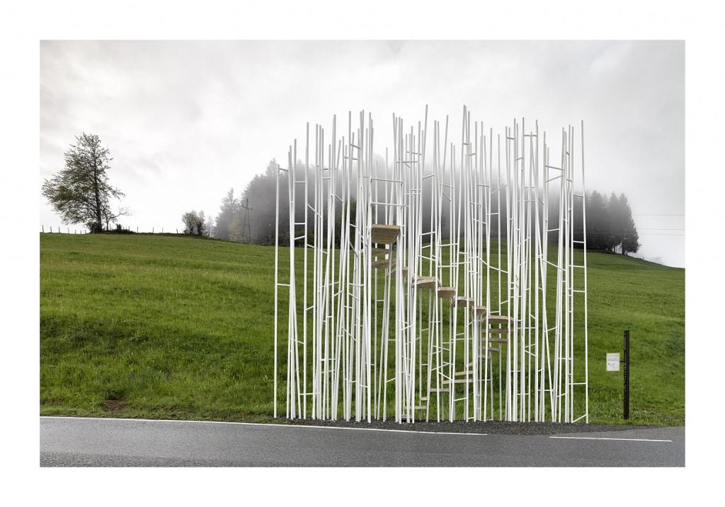 BUS:STOP Krumbach Bränden. Architekt / Entwurf: Sou Fujimoto; Architektur / Ausführung: Bechter Zaffignani (Rene Bechter, Michelangelo Zaffignani) 01.jpg, 7,8 MB © Adolf Bereuter