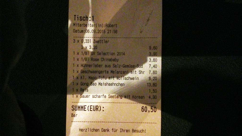 die Rechnung aus der China Bar an der Wien, Foto (c) Mischa Reska - kekinwien.at