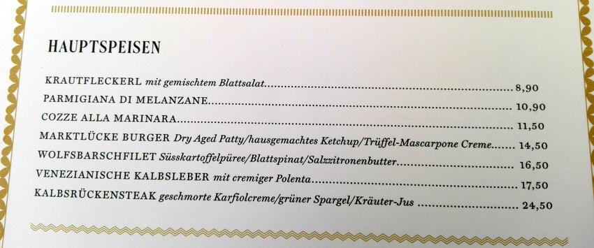 Speisekarte der Marktlücke vom 29.6.2016, Hauptspeisen - kekinwien.at