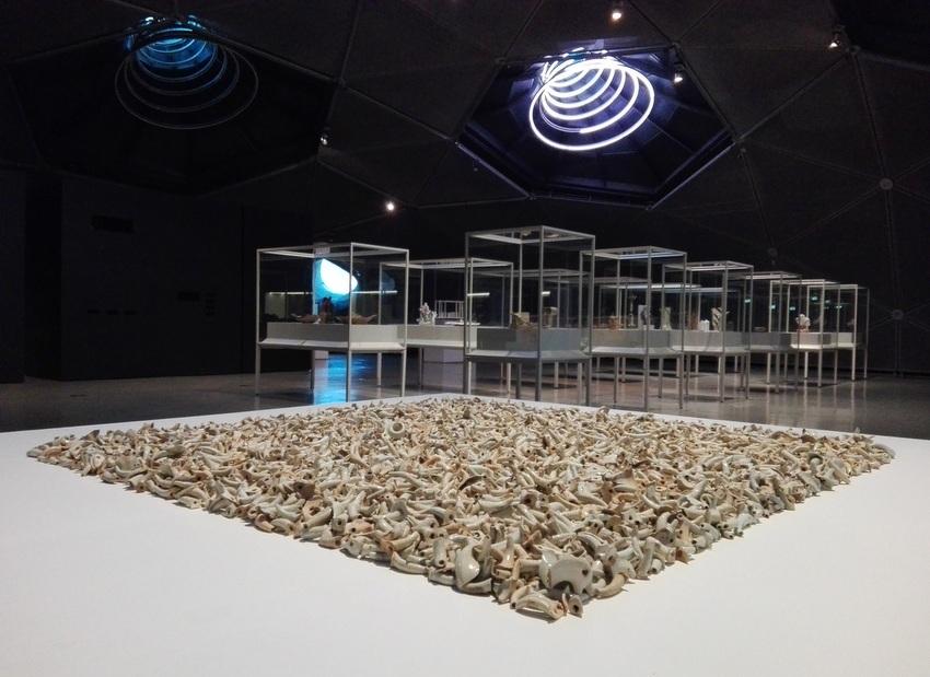 ai-weiwei-spouts-2015-im-vordergrund-im-hintergrund-die-schaukaesten-mit-den-modernen-keramikobjekten-kekinwien-at