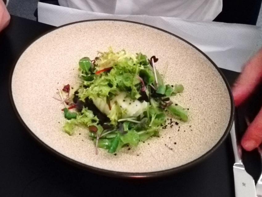 Burrata: die Olive ist als Paste unter dem Salat. Wir fanden sie eine Idee zu salzig, Birdyard, Bild (c) Claudia Busser - kekinwien.at