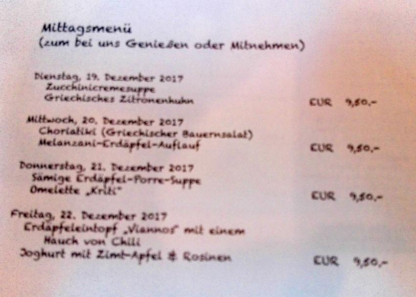 Mittagsmenüs, Beispiel einer kretischen Woche, Villa Maria - kekinwien.at