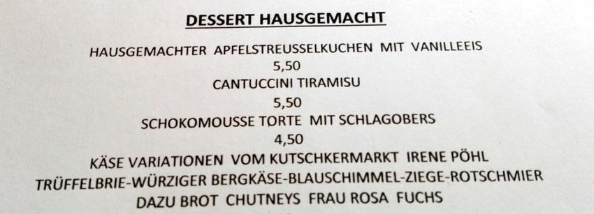 Die Desserts auf der Karte bei Takans. Sie werden trotz der insgesamt großen Portionen oft bestellt; wir konnten leider nicht mehr, Bild (c) Claudia Busser - kekinwien.a