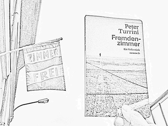 Peter Turrini, Fremdenzimmer, Buchcover in einer Collage, Bild (c) Alexandra Wögerbauer - Flicker - kekinwien.at