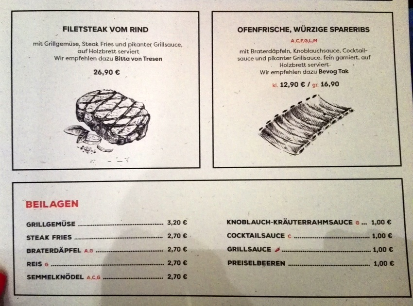 Steak, Burger, Tafelspitz, Schnitzerl, Auszug aus der Karte -kekinwien.at