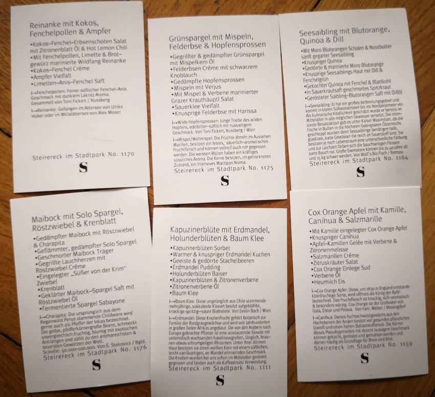 die kleinen Menükarten zu den einzelnen Gerichten, Teil 1, Bild (c) Andrea Pickl - kekinwien.at