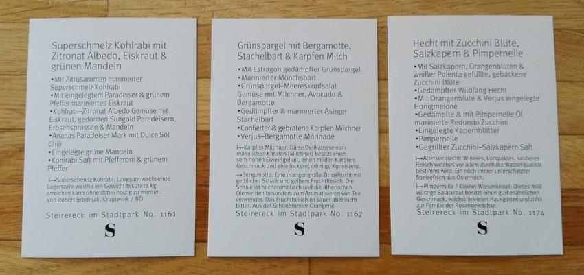 unsere Teller, die Menükärtchen, Teil 2, Bild (c) Claudia Busser - kekinwien.at