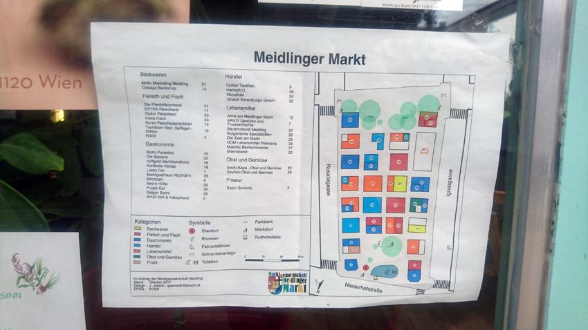 einer der Wiener Märkte, Übersichtsplan Meidlinger Markt, Bild (c) Mischa Reska - kekinwien.at