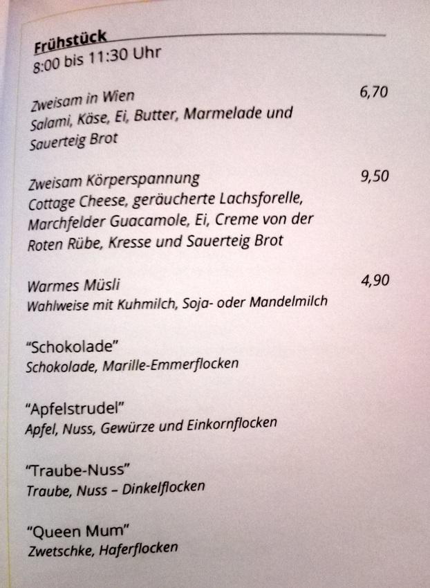Frühstückskarte im Zweisam, Bild (c) Claudia Busser - kekinwien.at