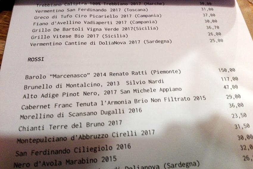 Die Roten, Auszug aus der Weinkarte des Restaurants Materia - kekinwien.at