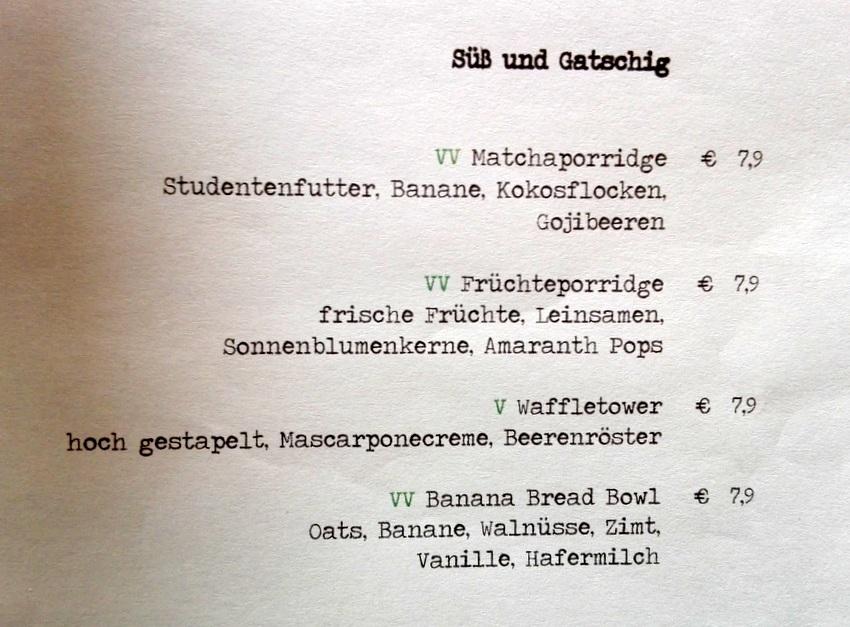 Frühstück, Auszug aus der Karte, Café Hildebrandt, Bild (c) kekinwien.at