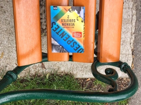 Vernon Subutex 2, auf der Parkbank, Collage (c) Alexandra Wögerbauer-Flicker - kekinwien.at