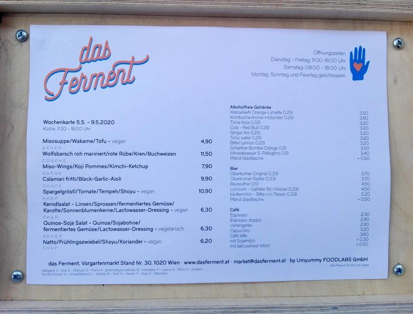 Das Ferment, Karte in der Eröffnungswoche, Bild (c) kekinwien.at